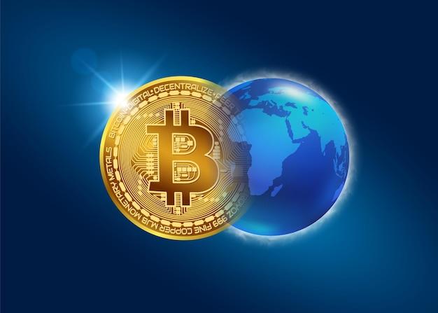 Concepto de bitcoin nueva moneda mundial sistema de pago digital de criptomonedas bitcoin