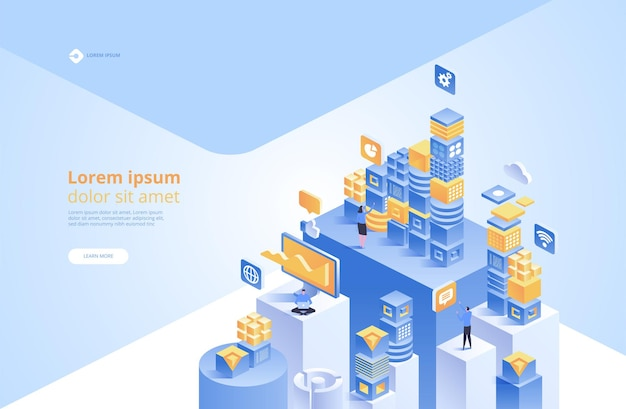 Concepto blockchain. conexión de cubos o bloques digitales isométricos
