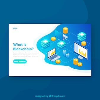 Concepto de blockchain para página de destino