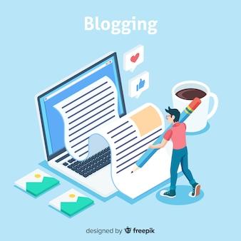 Concepto de blog con vista isométrica