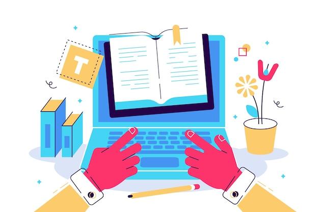 Concepto blogging educación gestión de contenido de escritura creativa para página web