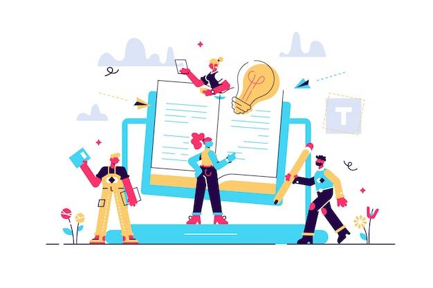 Concepto blogging, educación, redacción creativa, gestión de contenidos, ilustración, noticias, redacción, seminarios, tutoriales.