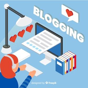 Concepto de blogging estilo isométrico