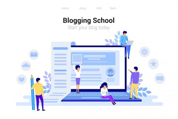 Concepto de blogging y redacción.