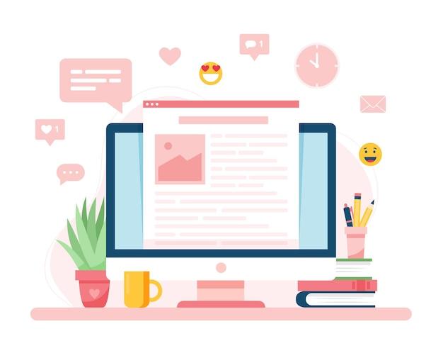 Concepto de blogs, una pantalla con texto