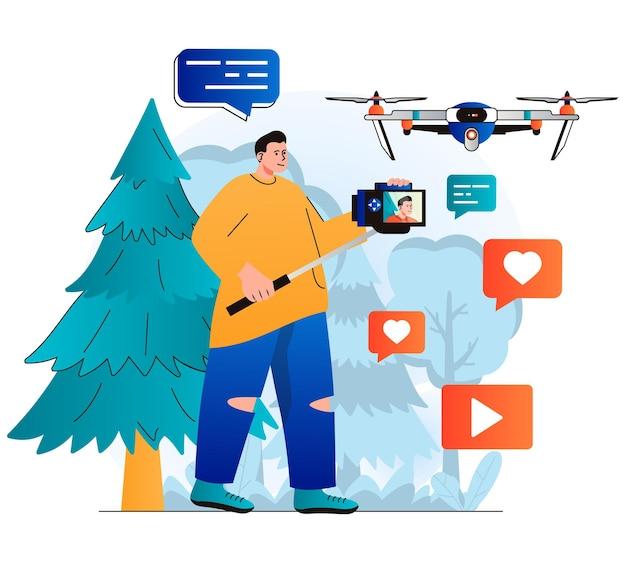 Concepto de blogs de vídeo en diseño plano moderno blogger graba clips de vídeo en una cámara profesional