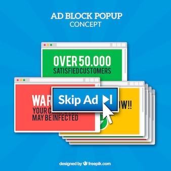 Concepto de bloqueador de anuncios online con diseño plano