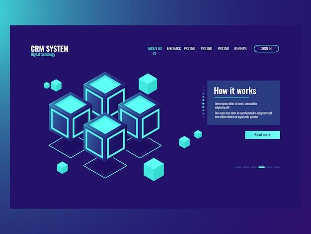 Concepto de bloques de memoria de datos abstractos, sala de servidores, página web de alojamiento