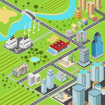 Concepto de bloques de transporte de calles de bloques de suburbio de la ciudad