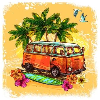 Concepto de boceto de surf bus