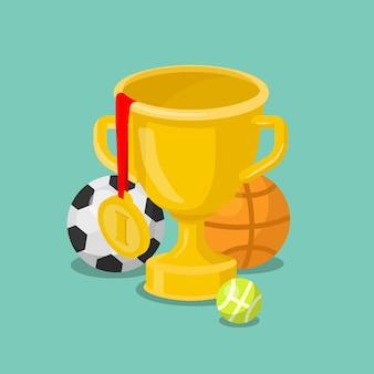 Concepto de bolas de deporte de medalla de oro de copa de trofeo isométrica plana