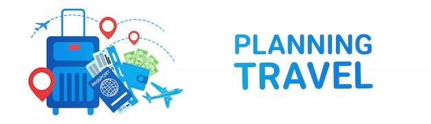 Concepto de los boletos del transporte de la ruta del viaje de la maleta de la bandera del viaje del planeamiento del día de fiesta