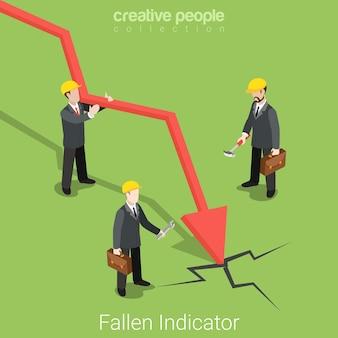 Concepto de bolsa de valores de mercado de activos financieros de negocio isométrico plano indicador caído cascos de hombres de negocios investigando el lugar de la falla. colección de personas creativas