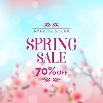 Concepto borroso para la venta promocional de primavera