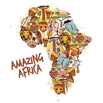 Concepto de bosquejo de áfrica
