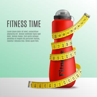 Concepto de botella de tiempo de fitness