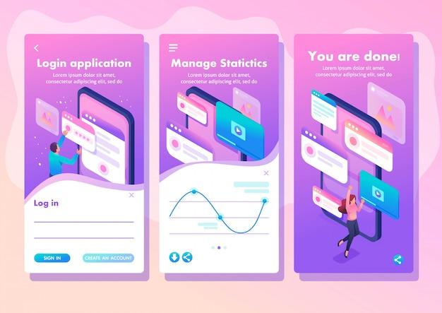 Concepto brillante de la aplicación de plantilla isométrica el proceso de creación de un diseño de aplicación, ui ux, aplicaciones de teléfonos inteligentes