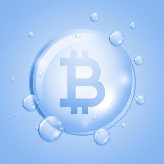 Concepto de burbuja de globo de bitcoin de moneda crypto