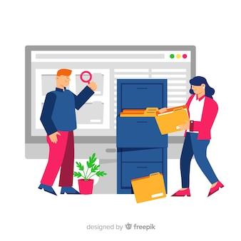 Concepto de búsqueda de archivos para la página de destino