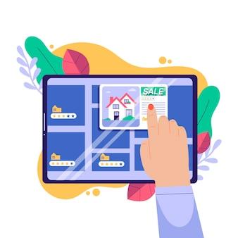 Concepto de búsqueda de bienes raíces ilustrado