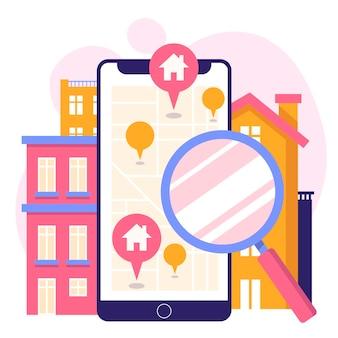 Concepto de búsqueda de bienes raíces con teléfono
