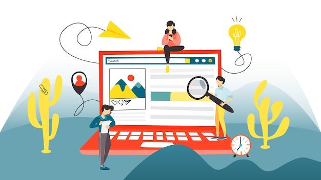Concepto de búsqueda. búsqueda de información en internet mediante el sitio web. idea de tecnología digital y seo. ilustración