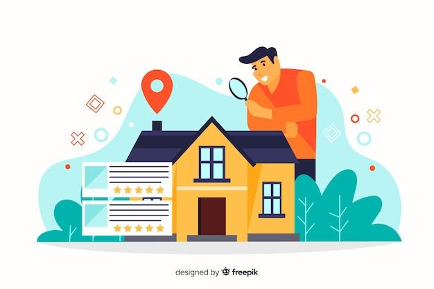 Concepto de búsqueda de casa para página de destino
