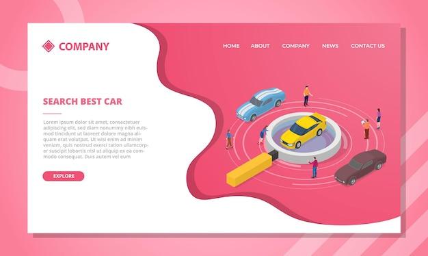 Concepto de búsqueda de coches para plantilla de sitio web o diseño de página de inicio de aterrizaje
