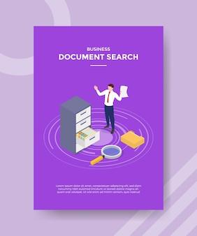 Concepto de búsqueda de documentos para banner y flyer de plantilla
