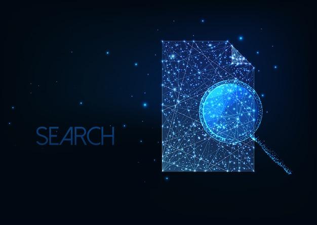 Concepto de búsqueda de documentos futurista con lupa poligonal baja brillante y documento en papel.