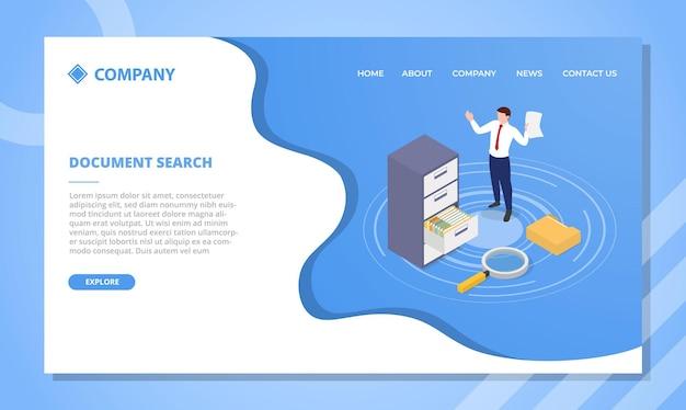 Concepto de búsqueda de documentos para plantilla de sitio web o página de inicio de aterrizaje
