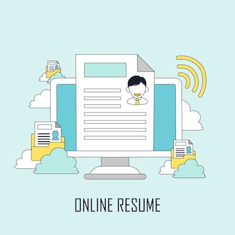 Concepto de búsqueda de empleo: currículum en línea en estilo de línea
