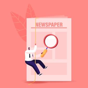 Concepto de búsqueda de empleo. pequeño personaje masculino en busca de trabajo vacante con periódico