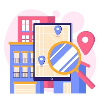 Concepto de búsqueda inmobiliaria con tableta