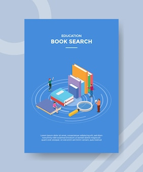 Concepto de búsqueda de libros para banner y flyer de plantilla