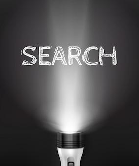 Concepto de búsqueda de linterna realista