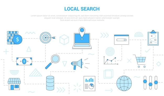 Concepto de búsqueda local con banner de plantilla de conjunto