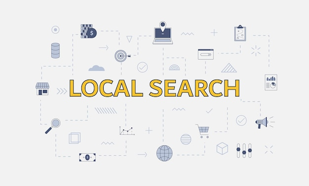 Concepto de búsqueda local con conjunto de iconos con gran palabra o texto en el centro