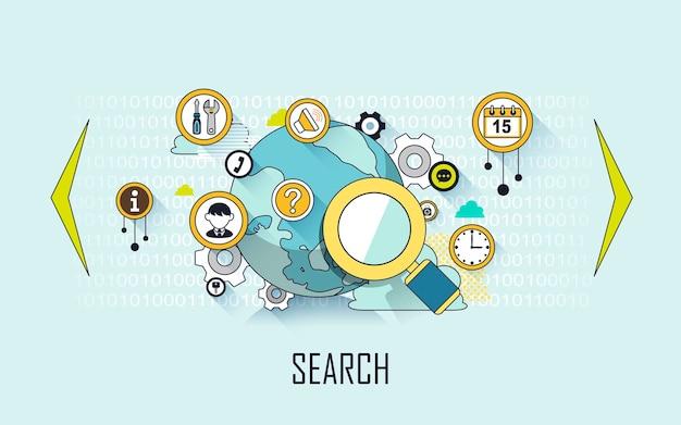 Concepto de búsqueda: lupa y elementos de internet en estilo de línea