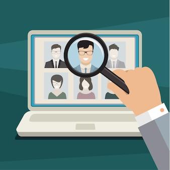Concepto de búsqueda de material profesional, trabajo de cazatalentos, problema de empleo, gestión de recursos humanos o análisis de currículum vitae del personal.