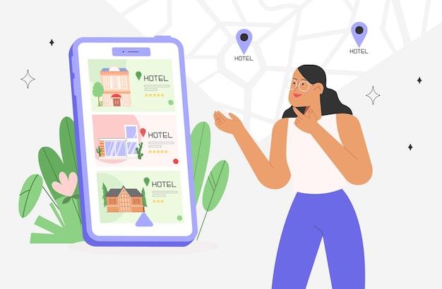 Concepto de búsqueda o reserva de hotel