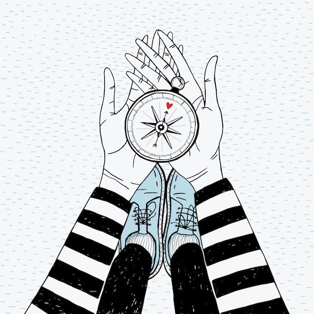 Concepto de búsqueda de pareja. chica con brújula de amor. linda ilustración dibujada a mano.