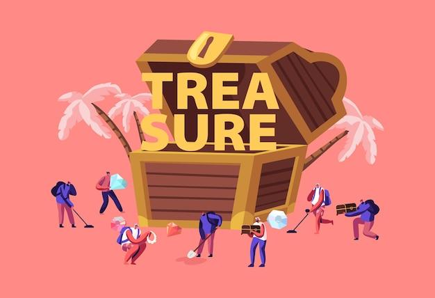 Concepto de búsqueda del tesoro. ilustración plana de dibujos animados
