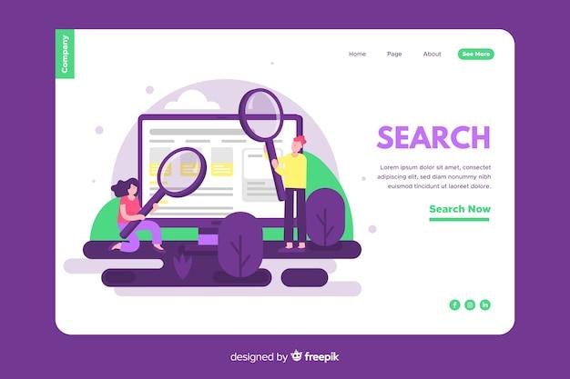 Concepto de búsquedas para landing page