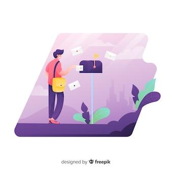Concepto de buzón para página de destino