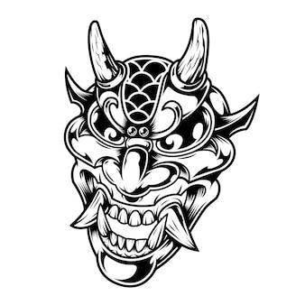 Concepto de cabeza de demonio aterrador vintage