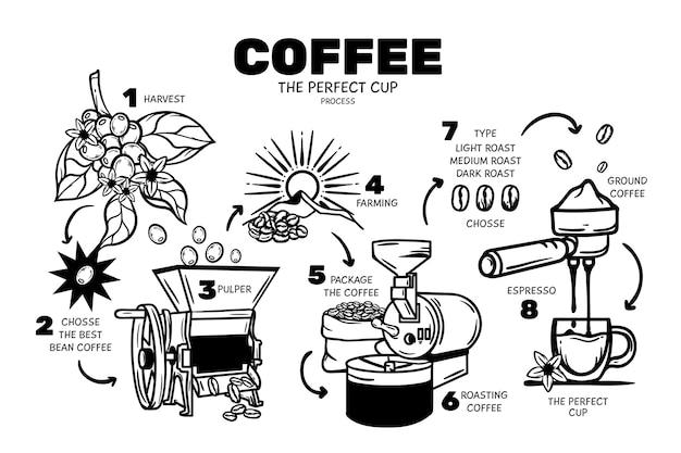 Concepto de café dibujado a mano