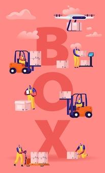 Concepto de cajas de carga de trabajadores de almacén y drones. ilustración plana de dibujos animados