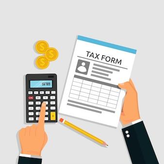 Concepto de cálculo de impuestos. mano que sostiene el formulario de impuestos y la calculadora para el pago de impuestos. símbolo de moneda y lápiz, ilustración vectorial