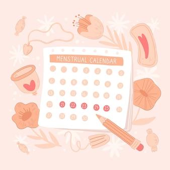 Concepto de calendario menstrual femenino